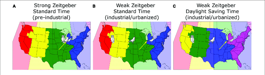 Data visualization on united states of america map. A Map Of The Continental United States Showing The Actual Time Zones Download Scientific Diagram