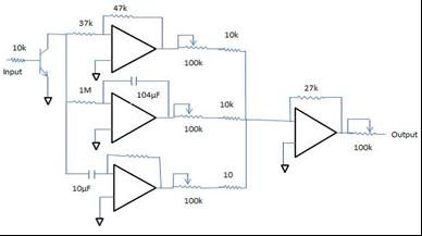 Circuit for analog PID controller ka = force-current co