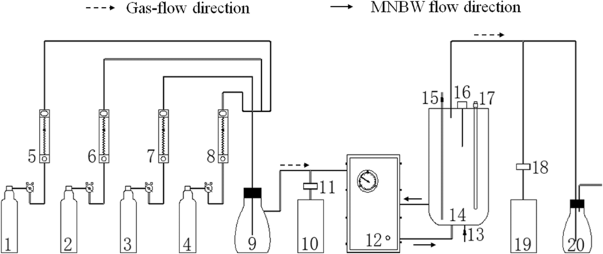 Schematic diagram of the experimental apparatus. 1. N2