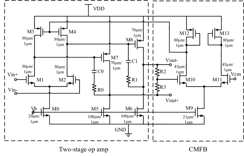 Schematic diagram of the two-stage operational amplifier
