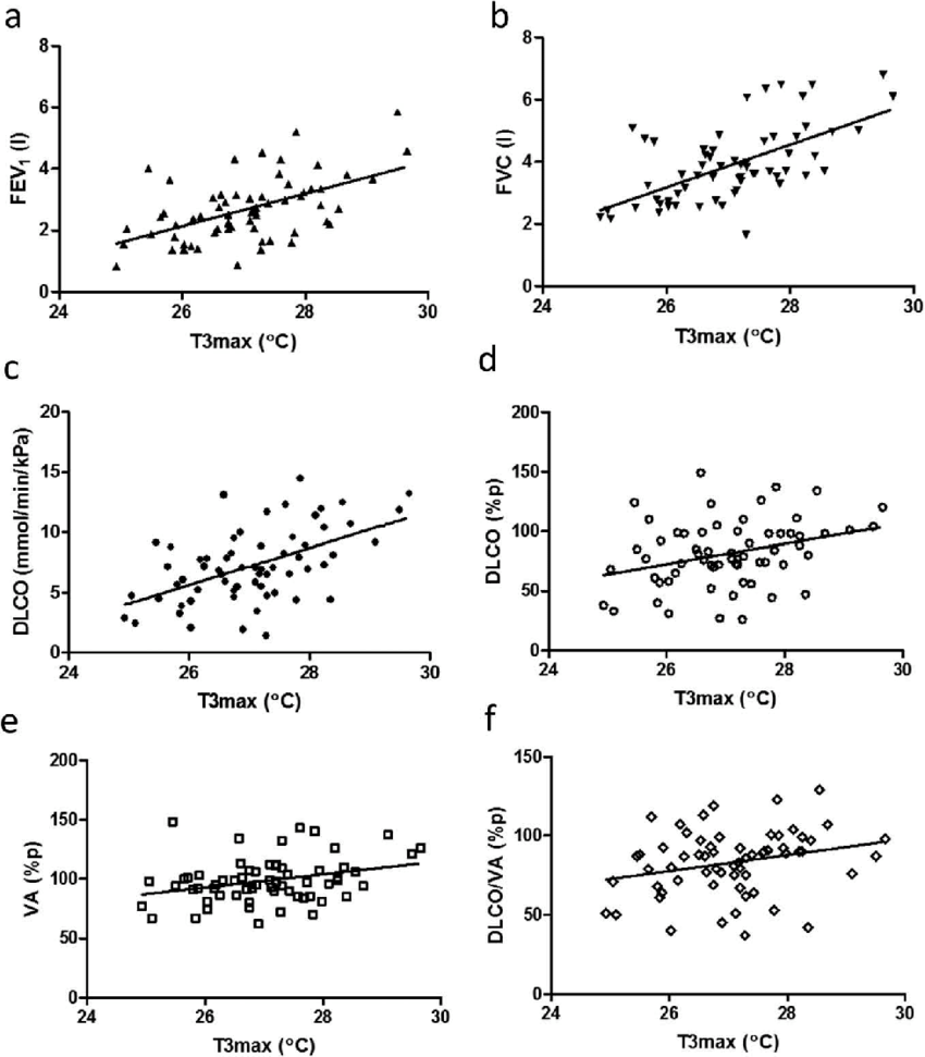 Correlations between T3max and different lung function