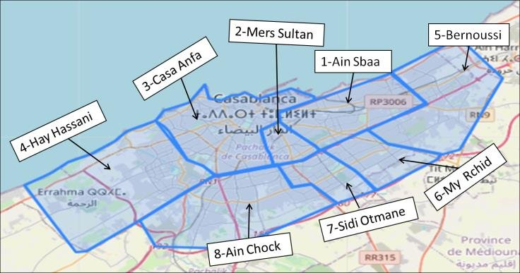 Map of Casablanca city and its eight districts | Download Scientific Diagram