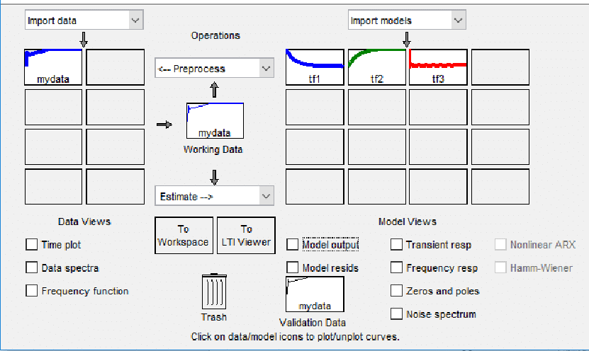 System identification toolbox with transfer function