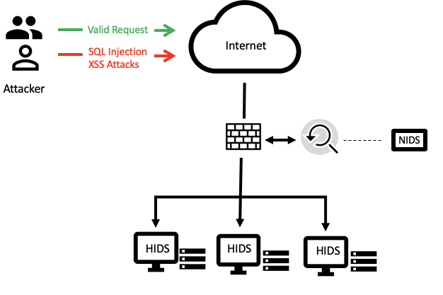 Deployment of both HIDS and NIDS in a cloud environment