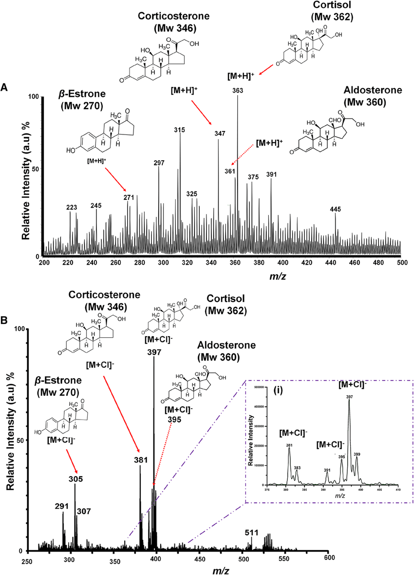 PS-MS analysis of the steroid model compounds (aldosterone