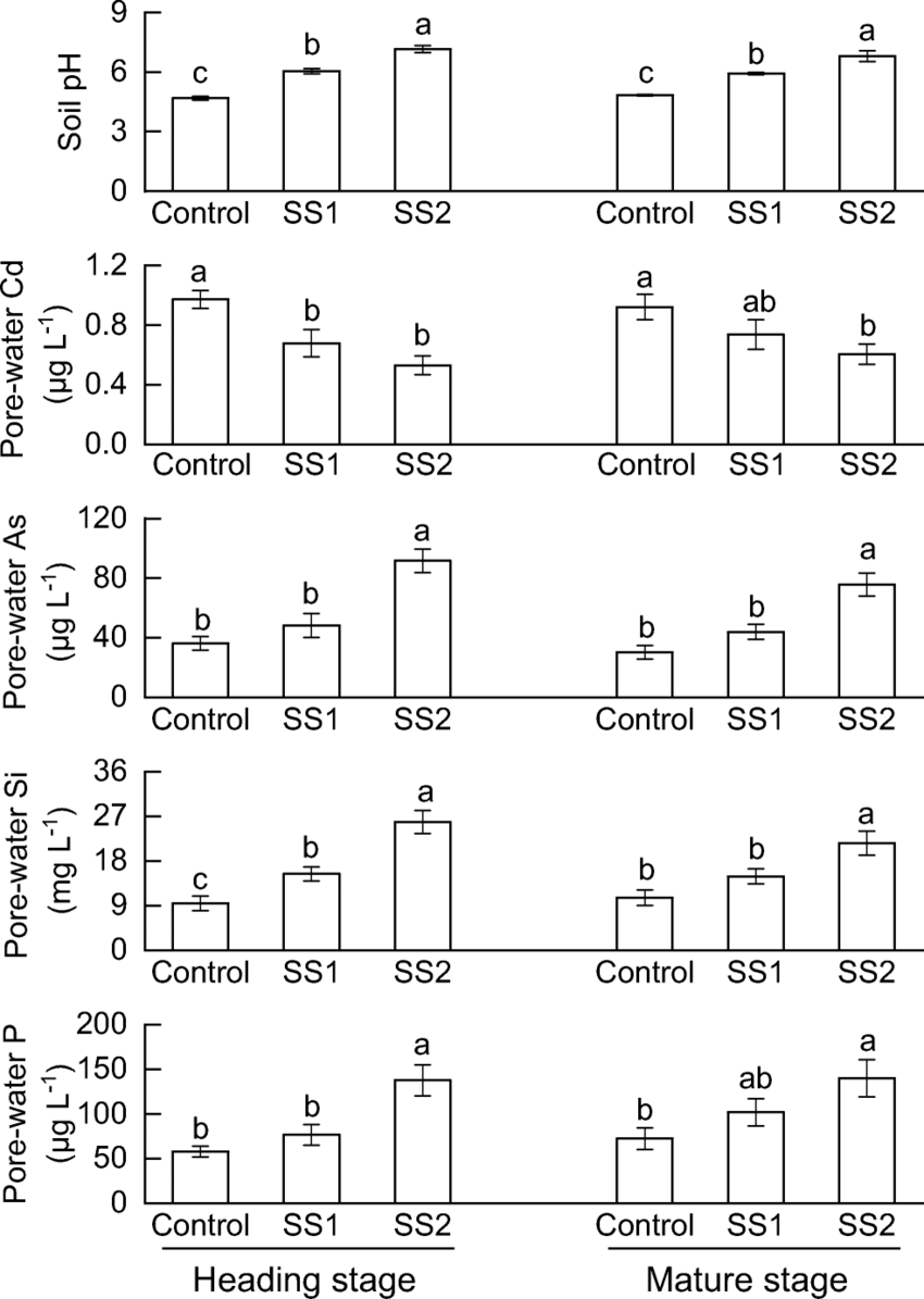 Rhizosphere soil pH and pore-water concentrations of Cd