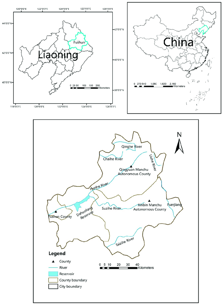 Location of the study area and distribution of major