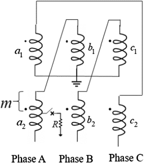 Circuit schematic for a phase-to-ground fault on secondary