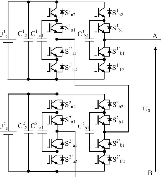 Scheme of 9 level cascade flying capacitor inverter