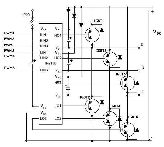 Circuit structure of power three-phase bridge inverter