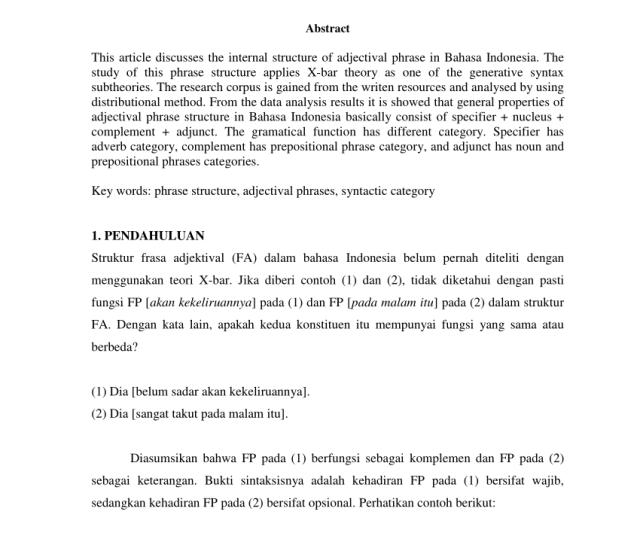 Frase Preposisi Bahasa Indonesiaisis X Bar Pdf Download Available
