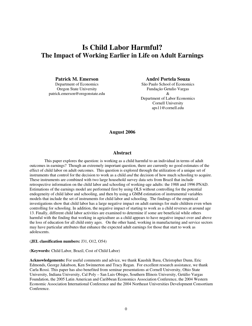 PDF The Implications Of Child Labor For Adult Wages Income And