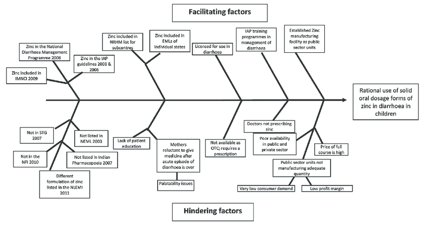 Fishbone diagram identifying factors facilitating and