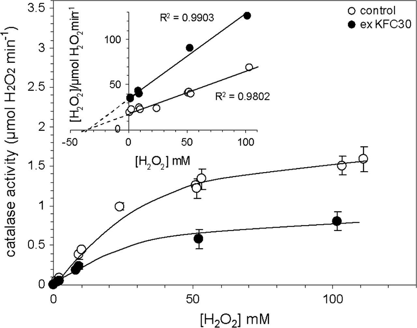 Catalase activity as a function of H2O2 concentration