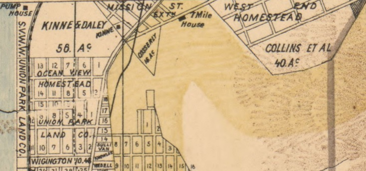 7 Mile House, Mission Road, San Francisco on an 1894 map
