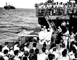 Burial at sea for two men from the Liscome Bay (Photo source: Public Domain)
