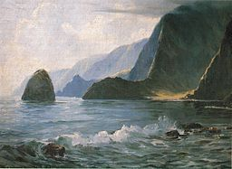 Painting depicts the treacherous landscape of Molokai