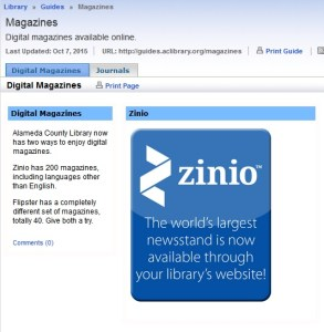 Zinio for Libraries is free (Source: aclibrary.org screen capture)