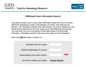 use email to find dna kit number at gedmatch