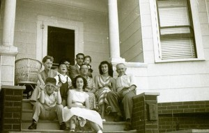 family in front of home oakland california 1950s