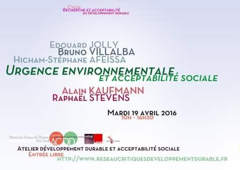 Affiche Urgence environnementale et acceptabilité sociale (ACDD)