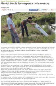 GEREPI étudie les serpents la Réserve, Nouvelle République