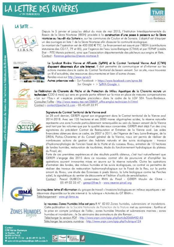 Lettre des rivières, mars 2015, CPIE Val de Gartempe