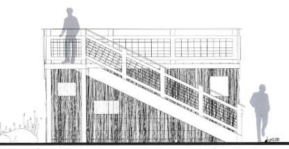 Plan de l'observatoire recouvert de palissades en brande du Pinail © Hb&co architecture