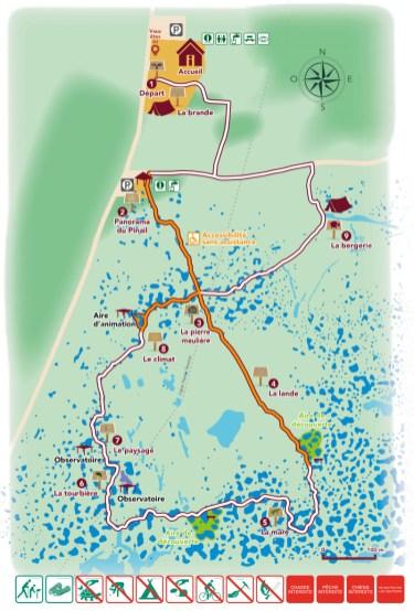 Plan du sentier de découverte interactif de la Réserve naturelle du Pinail