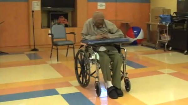 wheelchair lights bedroom chairs ireland old man in nursing home comes alive when he hears his favorite music