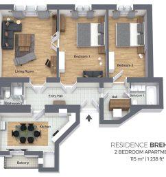 two bedroom apartment [ 1740 x 992 Pixel ]