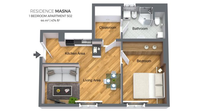 One Bedroom Apartment No 502 Residence Masna