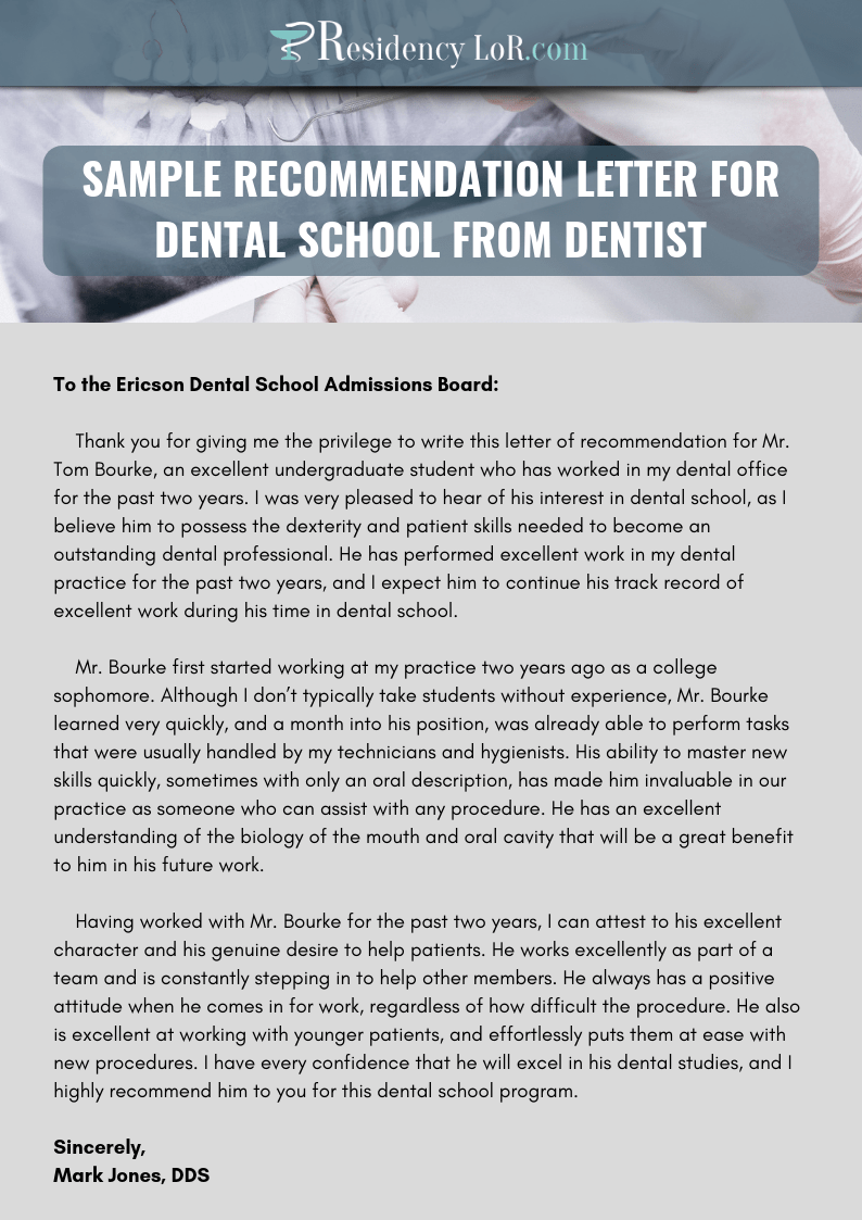 Recommendation Letter for Dentist  Writing  Editing Help