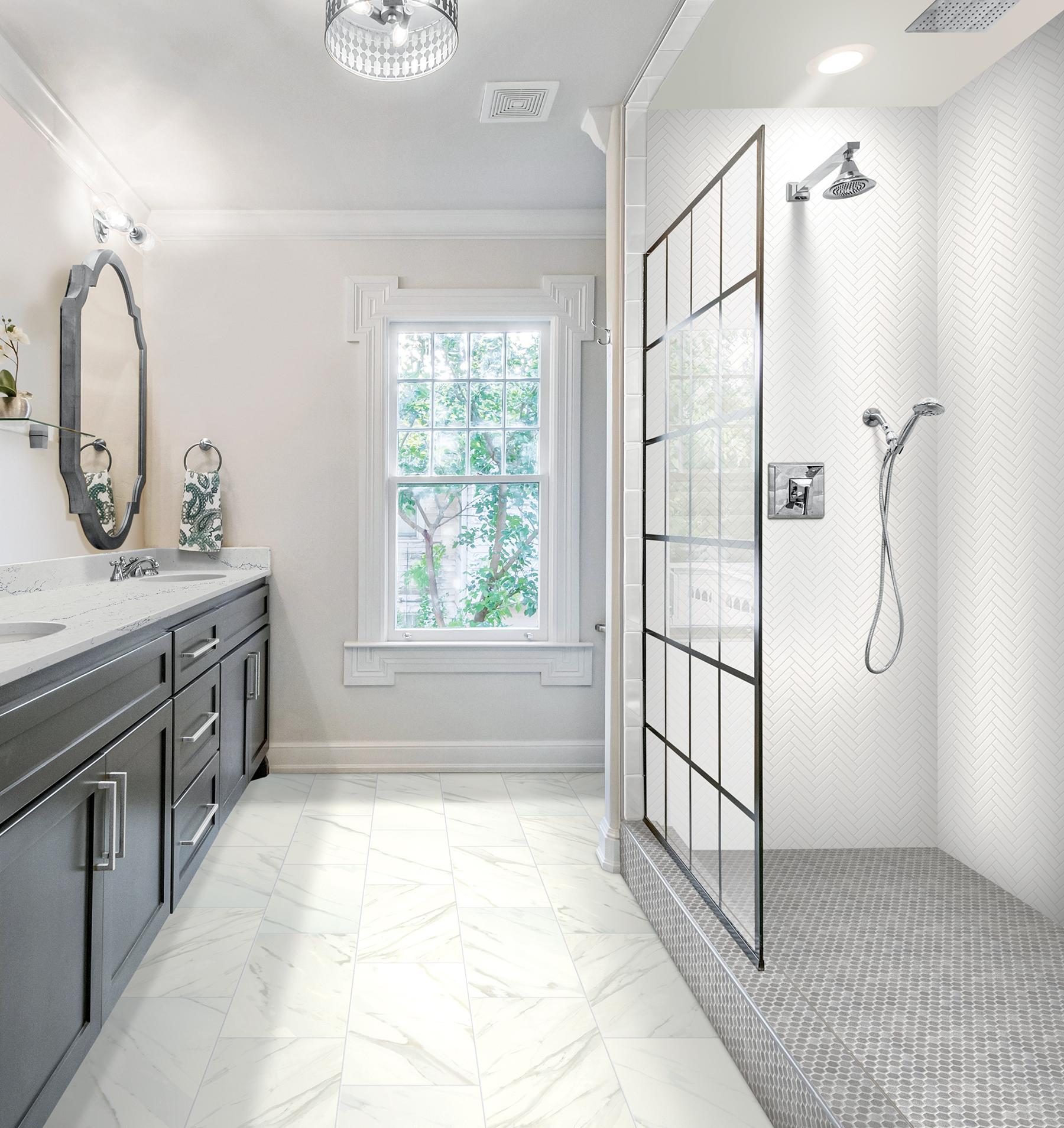 ceramic tile floor that installs twice