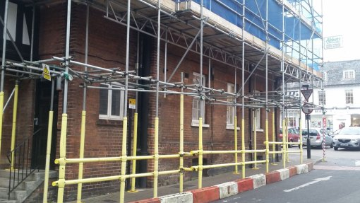 Scaffolding on Saffron Walden Town Hall