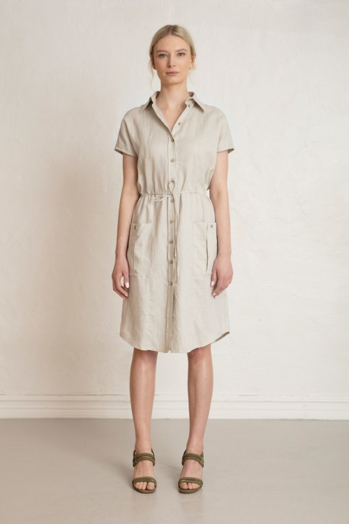 Wood Linen Dress in Sand Stone