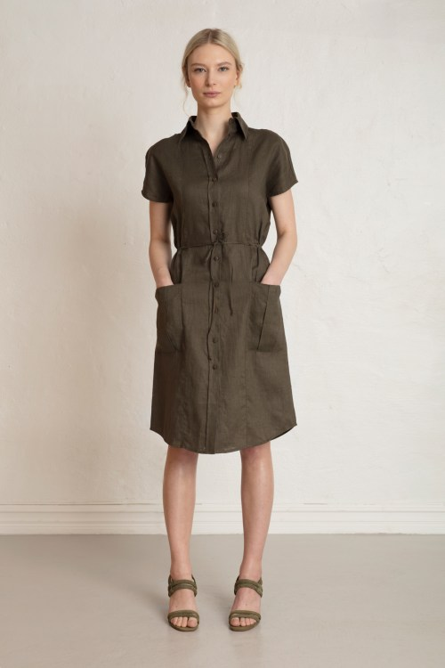 Wood Linen Dress in Dark Pine