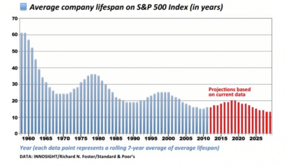 average company lifespan on SP500