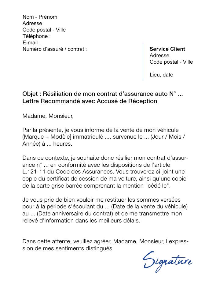 photo lettre de resiliation dassurance auto suite a la vente modele lettre
