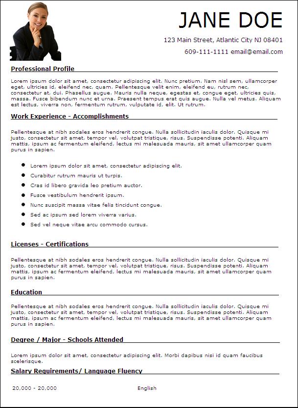 İngilizce Özgeçmiş Örneği CV Template Resimli Cv Örnekleri