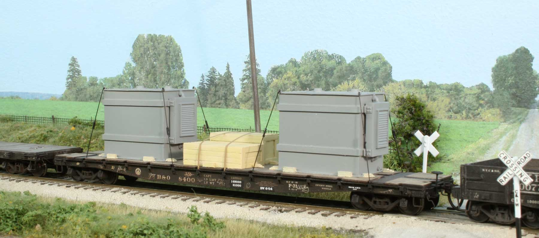 hight resolution of product code l t1 transformer loads for open top freight cars two ho scale resin cast transformer loads with crates flat car not included