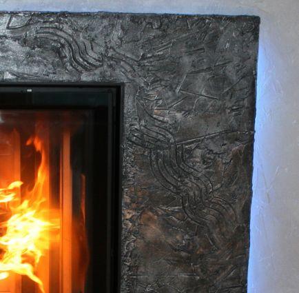 Rivestimento camino in cartongesso e resina materica  Resine Design
