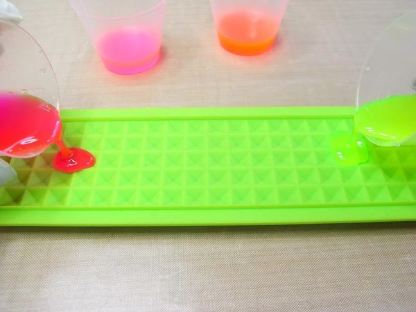 pour neon resin into silicone mold
