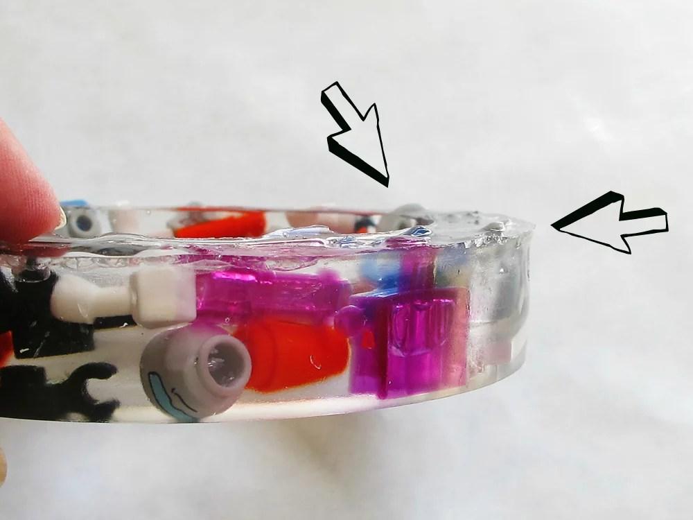 sharp edge on resin bracelet