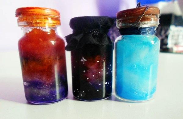 colorful resin in bottles