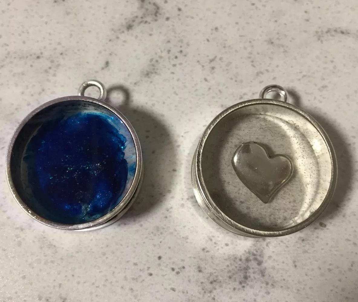 open back bezel resin pendants