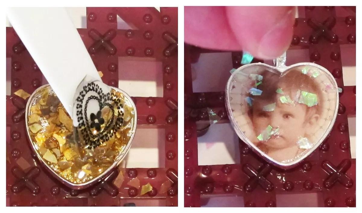 adding glitter to resin pendants