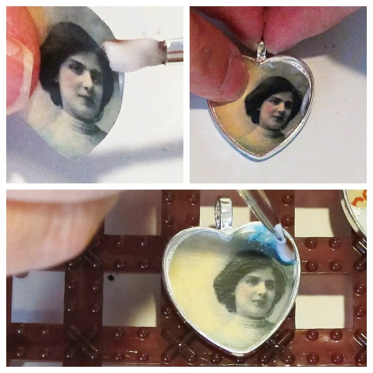glue and glitter pendant