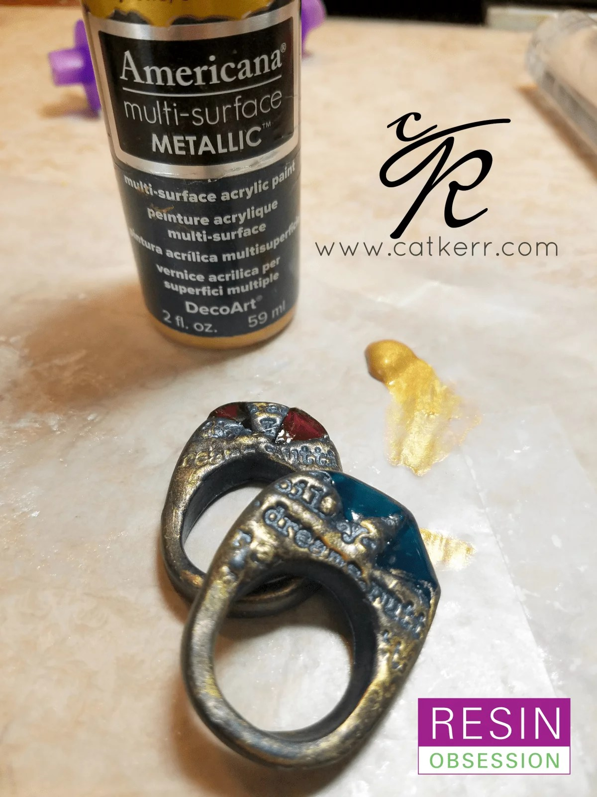 highlight ring detail with metallic paint