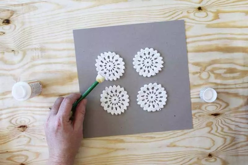 coating doilies with glue